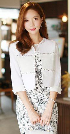 StyleOnme_Beading Detail Half Sleeve Linen Jacket #white #jacket #collarless…