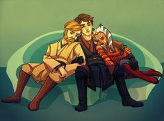 Obi-Wan, Anakin & Ahsoka peacefully sleeping on the couch - Relax from the Clone Wars
