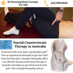 The most effective technique to treat fascia is fascial counterstrain therapy. Fascia is a thin layer wrapped around the body's inner muscles, the main cause of the pain in the neck, back, and shoulder. So visit carnegieosteopathy.com.au to book an appointment for your fascial counterstrain and dry needling treatment in Carnegie. Osteopathic Doctor, Treatment For Back Pain, Dry Needling, Doctor In, Neck Pain, Muscles, Clinic, Therapy, Australia