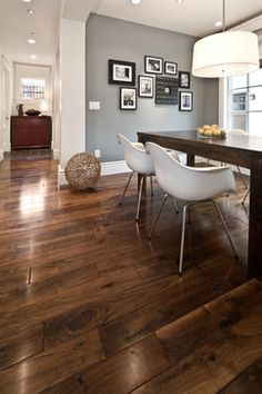 Walnut floors, white trim, grey walls - don't like the furniture but the colors mix well together