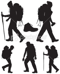 Backpacking Hikers and Hiking Shoe Royalty Free Stock Vector Art Illustration