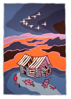 Flight South, by Ted Harrison Printed Matter, Learn To Paint, Limited Edition Prints, Famous Artists, Les Oeuvres, Illustration Art, Illustrations, Watercolor Art, Folk Art