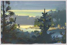 Nathan Fowkes, Land Sketch: Lake Arrowhead California after sunset.
