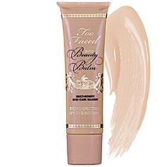 Two Faced Tinted Beauty Balm in Vanilla Glow. Love it. I use it as a primer/ moisturizer under Bare Minerals powder.   http://m.sephora.com/product/productDetail.jsp?productId=P303104