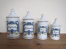 Porcelana Francesa Conjunto de 4 Frascos De Farmacia Farmacia por DT Francia