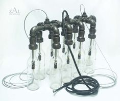 Wine / Beer bottles. Suspension Lamp. Pendant by ZALcreations