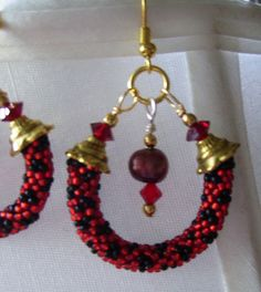 Red and Black beaded crystal and pearl earrings by Seshetta
