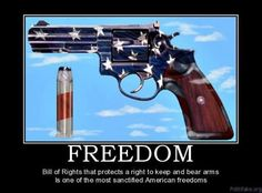 Bill of Rights that  protects s right to keep & bear arms is one of the most sanctified American Freedoms.
