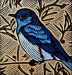 mountain bluebird | painted woodcut block on salvaged Dougl… | Flickr