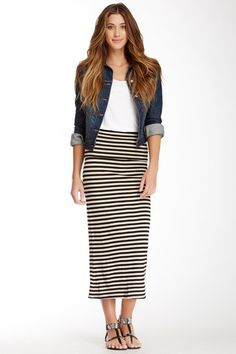 Stripe Foldover Maxi Skirt/Dress by Frenzii on @HauteLook Denim jacket looks cute with this outfit.