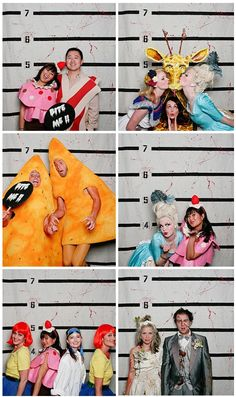 costume photobooth with police line-up height lines as the backdrop!