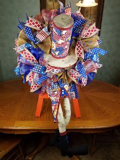 Uncle Sam Wreath Patriotic Wreath of July Wreath Patriotic Wreath, Patriotic Decorations, 4th Of July Wreath, Welcome Summer, Printed Ribbon, 4th Of July Party, Summer Wreath, Fun Prints, Deco Mesh