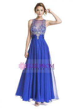 2015 A Line Scoop Prom Dresses With Beading Floor Length Chiffon USD 194.99 EPPTX9TKJ3 - ElleProm.com