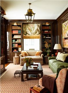 I have always loved the old school cozy library look.  Fresh and sophisticated rooms!