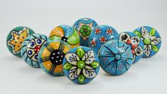Sky Blue Color Ceramic Knobs Drawer Pulls with by shwetcreation