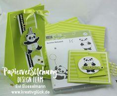 Einladungskarte und Mitgebsel-Box zum Geburtstag, Stampin ' UP! Sale-A-Bration, Party-Pandas