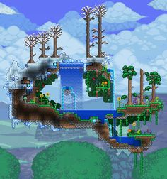 "Awesome!!! ""Spring."" #Terraria #nature #Building"