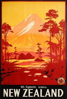 retro Mt Egmont, New Zealand illustrated poster. (Now Mt Taranaki)