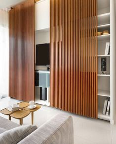 Gallery of wood slat wall covering indoor sliding doors wall panel - slatwall design ideas Wall Panel Design, Door Design, Cabinet Design, Indoor Sliding Doors, Sliding Panels, Sliding Wall, Sliding Door Closet, Indoor Doors, Living Room Sliding Doors