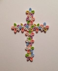 Quilled Paper Cross Paper Filigree Paper Lace Pale Pink & White Easter Cross Paper Quill Spring Quilled Flower Floral Cross. $12.00, via Etsy.