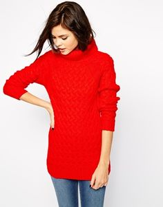 Warehouse Long Roll Neck Cable Jumper