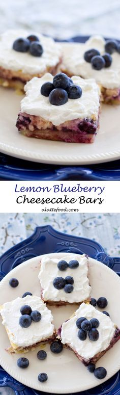 These Lemon Blueberry Cheesecake Bars are so rich and creamy! The blueberry lemon cheesecake filling is baked on a lemon shortbread cookie crust! The perfect easy dessert!