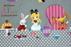 Alice in wonderland Tea party fabric gray color half yard - hanami boutique
