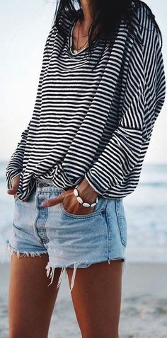 #summer #elegant #feminine | Stripes + Denim