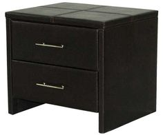 Leather Bedside 2 Drawer Nightstand