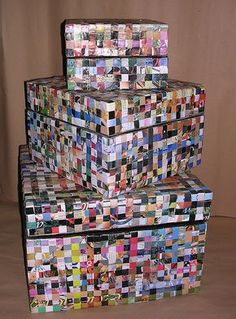 Recycled Paper Crafts, Recycled Magazines, Newspaper Crafts, Cardboard Crafts, Resin Crafts, Quick Crafts, Diy Crafts For Gifts, Rolled Paper Art, Diy Storage Boxes