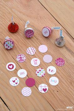 Printable Valentine's Day Hershey Kisses Labels
