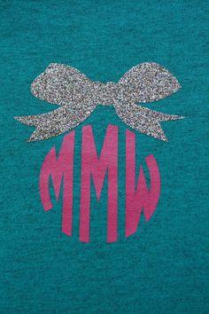 Glitter Bow Monogrammed Ladies' T-Shirt