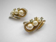 Trifary gold tone clip on earrings with  faux pearl by badgestuff, $5.00