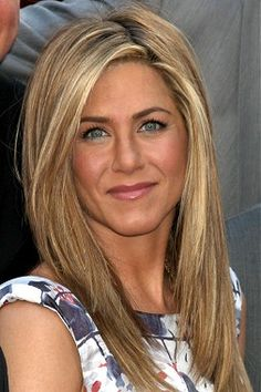 A long blonde straight coloured multi-tonal Jennifer Aniston Festivals Womens hairstyle by Celebrity Hairstyles
