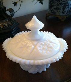 Kemple Milk Glass Covered Sugar Bowl Yutec Pattern