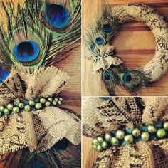 Custom order...  Burlap and peacock feather wreath.