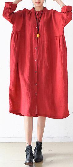 71eb441b30 2017 fall Plus size linen dresses cute linen shirt dress maternity dresses