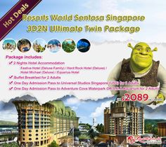 Hot Deals! Resorts World Sentosa Singapore 3D2N Ultimate Twin Package - 2 Nights Hotel + Breakfast + Universal Studios Singapore + Adventure Cove Waterpark OR S.E.A Aquarium - $2089up/person, Details: http://www.asiatravelcare.com/mktg/20140501_Resorts_World_Sentosa_3D2NPckg-eng.htm