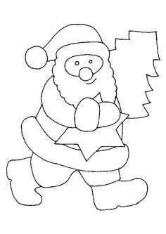 Coloriage du Père Noel avec Une etoile et sapin - Hugolescargot.com