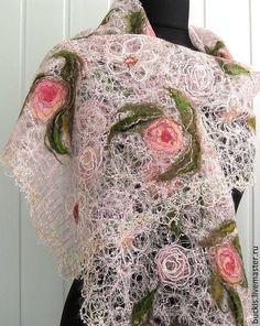 Купить Ажурный шарф - палантин- ESTERA - бледно-розовый, цветочный, ажурный шарф, ажурный палантин