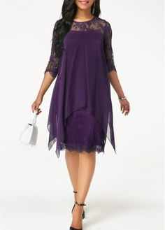 89faaa08db1 Three Quarter Sleeve Purple Lace Dress
