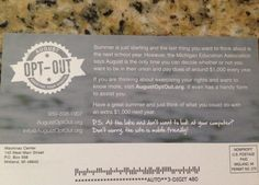 Flyer mailed to educators encouraging union opt out - funded by Mackinac Center