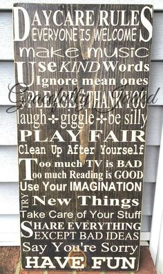 Daycare Rules Daycare Sign Play Fair Have Fun by gracefullyjaded