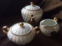 St Kilda Fine China Black Rose Tea set - exc condition unused