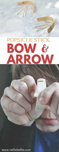 This is definitely not one of your old-school popsicle stick crafts, is it? This is a fun and easy mini bow and arrow that your kids will love making with you! Craft Stick Projects, Craft Stick Crafts, Crafts To Make, Fun Crafts, Wood Projects, Valentine Crafts For Kids, Easy Crafts For Kids, Diy For Kids, Popsicle Stick Crafts