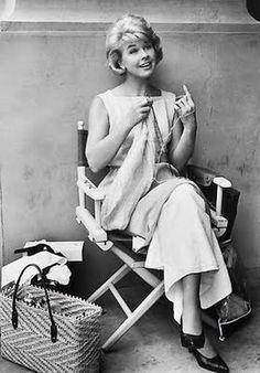 Doris Day knitting