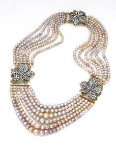 A six-row natural pearl, diamond and demantoid garnet necklace