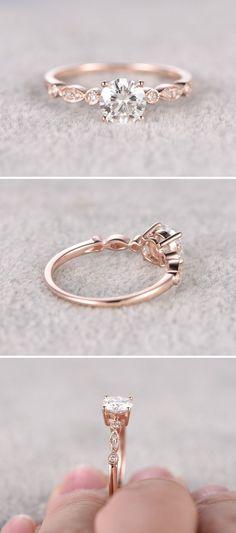 Moissanite in Rose Gold Engagement Ring http://www.pinterest.com/pin/157133474478858819/                                                                                                                                                                                 More #engagementringsrosegold