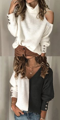 Casual Pure Color loose sweaters For Woman girl bedroom ideas purple girl bedroom ideas themes girl bedroom ideas vintage bedroom girl bedroom ideas urban outfitters bedrooms Knit Fashion, Love Fashion, Womens Fashion, Moda Outfits, Chic Outfits, Casual Sweaters, Sweaters For Women, Make Your Own Clothes, Loose Sweater