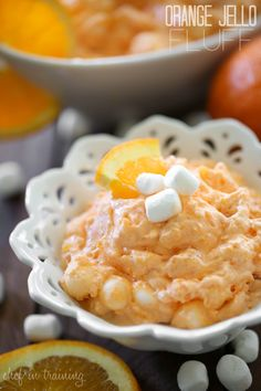 Orange Jello Fluff from chef-in-training.com …A super easy and delicious side that is a crowd pleaser no matter where it goes!